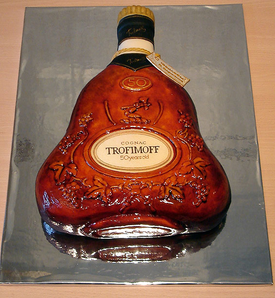 Look at this amazing cake that looks like a bottle of cognac.