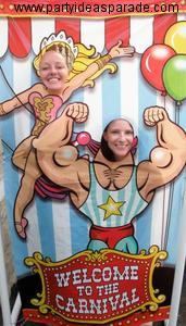 The Carnival Pictures of Krissy and Jenna.  A Photo Prop is a Great Party Idea!