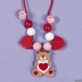 Beaded Valentine Bear Necklace Craft Valentine Craft Ideas For Kids