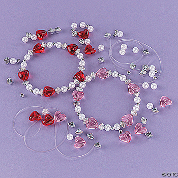 Beaded valentine bracelet craft kit for kids for Bead craft ideas for kids