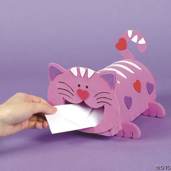 Do your kids make boxes to bring to class for their valentines? MEOW with a Cat Valentine Card Box Craft Kit for kids.