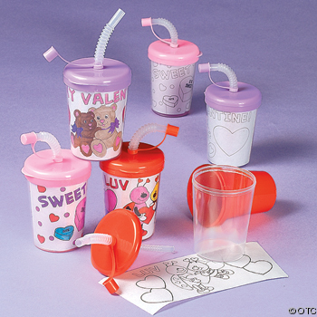 Color Your Own Valentine sipper cups  Valentine craft ideas for kids