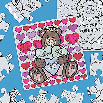 Color Your Own Valentine Puzzles Valentine Craft Ideas For Kids