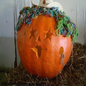 Pumpkin With A Cowboy Hat and Stars Carved For Eyes