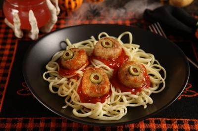 Eyeball Meatballs and Spagetti  Is A Fun Food Recipe For Halloween