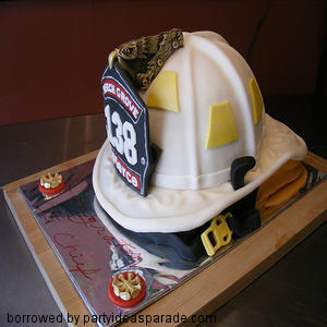 Make a Fire Fighter Hat Cake For Your Favorite Firefighter.  This hat cake is specatacular.