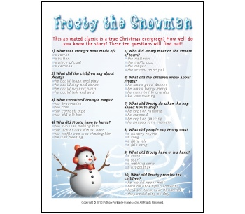 Frosty the Snowman Trivia Questions is just one of the Christmas printable games you can enjoy this holiday season with your family and friends.