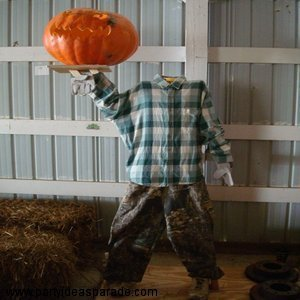 Headless Man Pumpkin Display