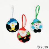 Here's a holiday character Christmas craft kit that includes a Snowman, a Santa and a Penguin design.