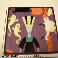 Here is Frankensteins Bride on a homemade Halloween card.