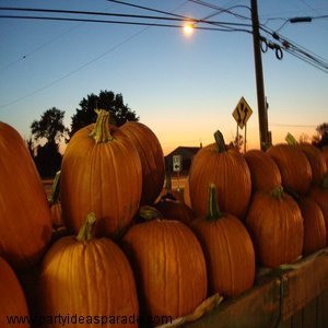 Pumpkins at Twilight at a Pumpkin Stand