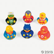 Superhero Rubber Duckies from the Oriental Trading Company.