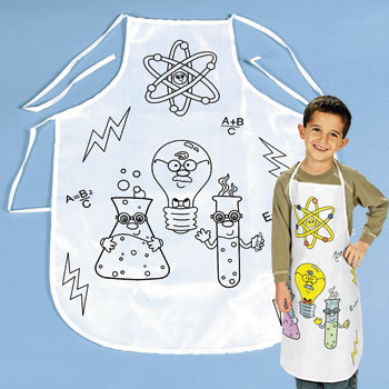 This Science Apron Was Available but now it's sold out.  Check with Oriental Trading to find something similar.