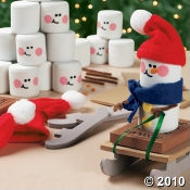 Snowman Christmas craft kit ...make a marshamallow snowman riding a sled!