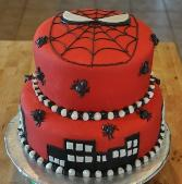 Here's another view of this fabulous kids birthday cake.  It's Spiderman made with fondant icing.
