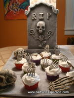Look at these Graveyard Halloween Cupcakes I made with cupcake toppers.