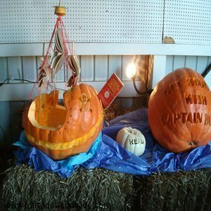 Pumpkin Carved into a Pirate Ship