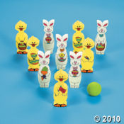 Easter Bunny and Chick Bowling Game for a kids Easter party.