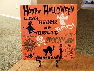 Halloween Tiles...tiles with Halloween designs and words on them...a good Halloween decoration idea.