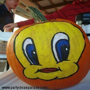 Tweety Bird Painted On A Pumpkin