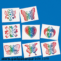 Temporary Tattoos are the ideal party favor for the Wizard of Oz party ideas.  These sparkling, glittery rainbow tattoos fit this theme like magic.