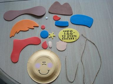 Cowboy Paper Plate Craft For Kids.  It's easy to make a nice craft project with paper plates.