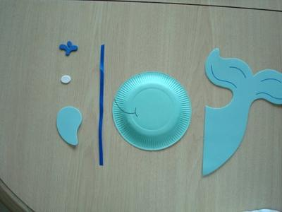 Here's my blue whale made from a kids craft kit using paper plates.