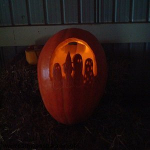 Here's that same cute, carved pumpkin all lit up!