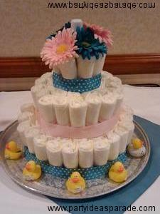 The Baby Shower Diaper Cake   Pretty In Pink And Blue