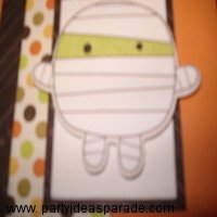 Here is the Mummy Embellishment that is on my homemade Halloween card.