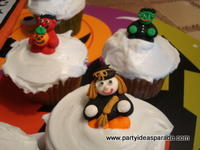 Witch, Devil and Monster Halloween Cupcake Decorations