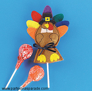 Fun Thanksgiving Craft Ideas - Cover your lollipops with turkeys...find out how!